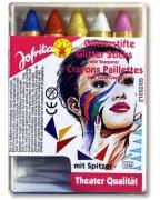 Glitzer Schminkstifte 5 Farben mit Spitzer