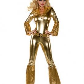 70er Jahre Disco Diva Jumpsuit Gold