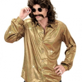80s Glitzer Discohemd Gold