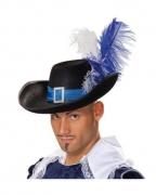 Edler Musketier Hut mit Federn blau-weiß