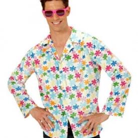 Hippie Hemd weiß mit bunten Blumen
