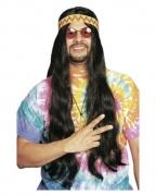 Schwarze Hippie Perücke mit Haarband