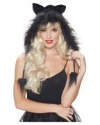 Schwarze Katzen Kapuze mit Pom Poms