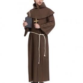 Mönchskutte Kostüm mit Tonsur Perücke