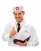 Arzt & Schwesternkappe Weiß-Rot