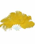 Gelber Fächer aus Marabufedern