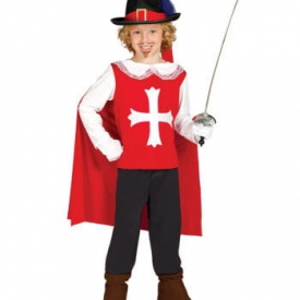 Rot-weißes Musketier Kinderkostüm