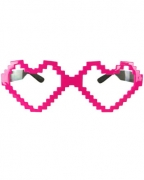 Neonpinke Pixel Herzbrille
