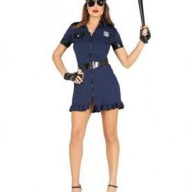 Schwarz-blaues Polizistin Kostüm