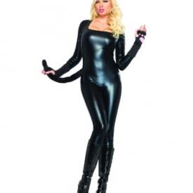 Schwarz glänzender Catsuit