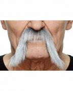 Selbstklebender schwarz-grau melierter Mongolen Bart