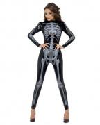 Skelett Skinsuit schwarz