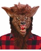 Braune Werwolfmaske mit Acryl Zähnen